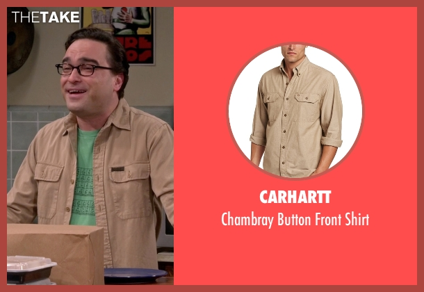 Carhartt beige shirt from The Big Bang Theory seen with Leonard Hofstadter (Johnny Galecki)