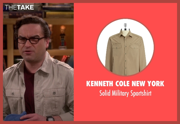 Kenneth Cole New York beige sportshirt from The Big Bang Theory seen with Leonard Hofstadter (Johnny Galecki)