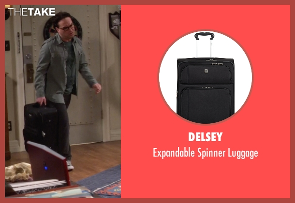Delsey black luggage from The Big Bang Theory seen with Leonard Hofstadter (Johnny Galecki)