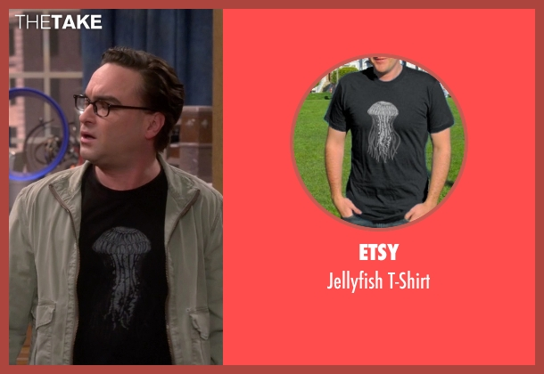 Etsy black t-shirt from The Big Bang Theory seen with Leonard Hofstadter (Johnny Galecki)