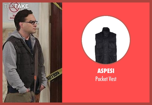 Aspesi black vest from The Big Bang Theory seen with Leonard Hofstadter (Johnny Galecki)