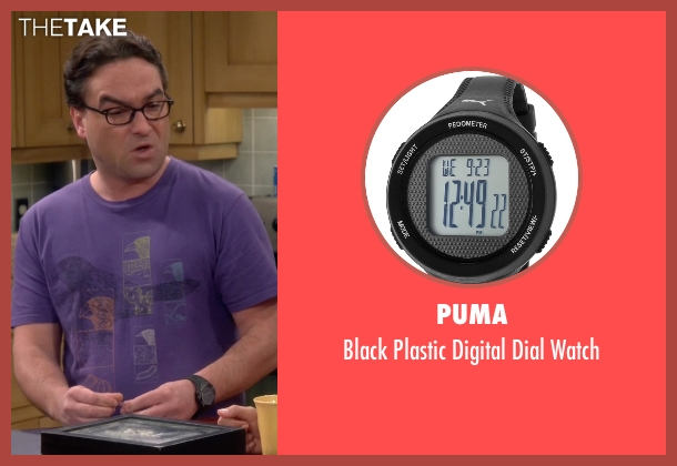 Puma black watch from The Big Bang Theory seen with Leonard Hofstadter (Johnny Galecki)