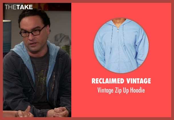 Reclaimed Vintage blue hoodie from The Big Bang Theory seen with Leonard Hofstadter (Johnny Galecki)