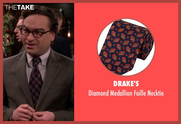 Drake's  blue necktie from The Big Bang Theory seen with Leonard Hofstadter (Johnny Galecki)