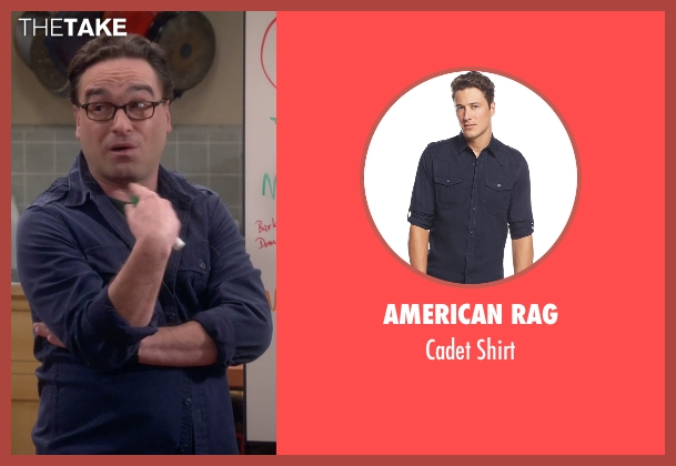 American Rag blue shirt from The Big Bang Theory seen with Leonard Hofstadter (Johnny Galecki)