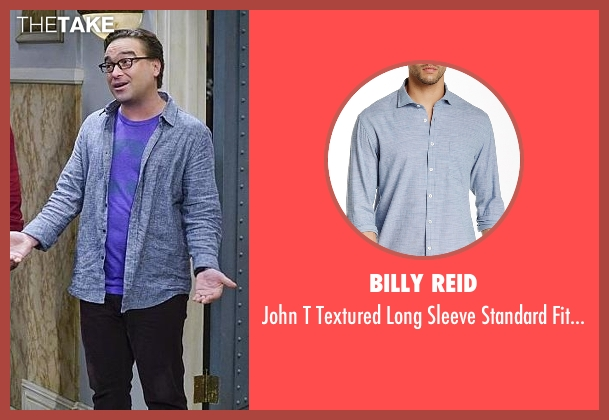 Billy Reid  blue shirt from The Big Bang Theory seen with Leonard Hofstadter (Johnny Galecki)