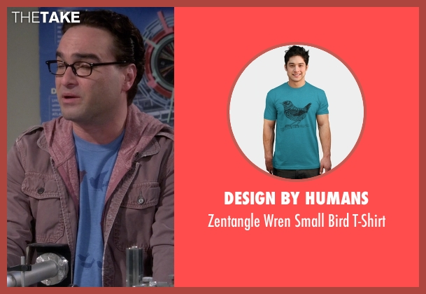 Design by Humans blue t-shirt from The Big Bang Theory seen with Leonard Hofstadter (Johnny Galecki)
