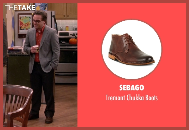 Sebago brown boots from The Big Bang Theory seen with Leonard Hofstadter (Johnny Galecki)