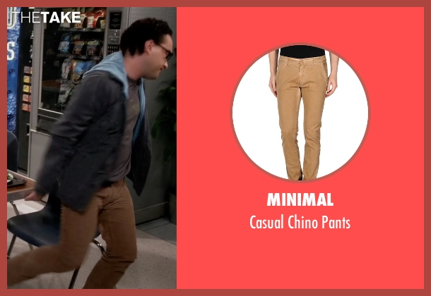 Minimal brown pants from The Big Bang Theory seen with Leonard Hofstadter (Johnny Galecki)