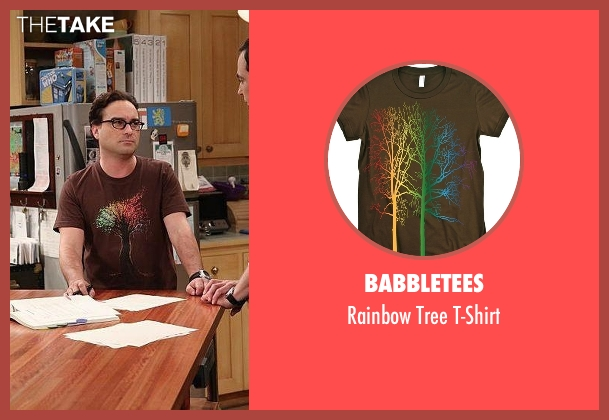 Babbletees brown t-shirt from The Big Bang Theory seen with Leonard Hofstadter (Johnny Galecki)