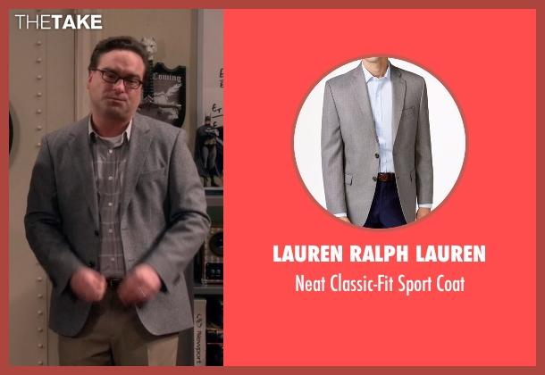 Lauren Ralph Lauren gray coat from The Big Bang Theory seen with Leonard Hofstadter (Johnny Galecki)