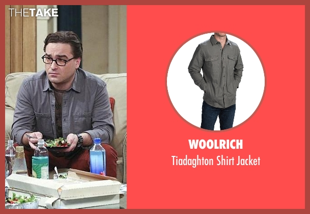 Woolrich gray jacket from The Big Bang Theory seen with Leonard Hofstadter (Johnny Galecki)