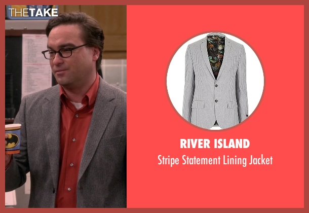 River Island gray jacket from The Big Bang Theory seen with Leonard Hofstadter (Johnny Galecki)