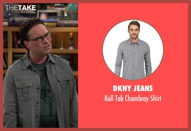 DKNY Jeans gray shirt from The Big Bang Theory seen with Leonard Hofstadter (Johnny Galecki)