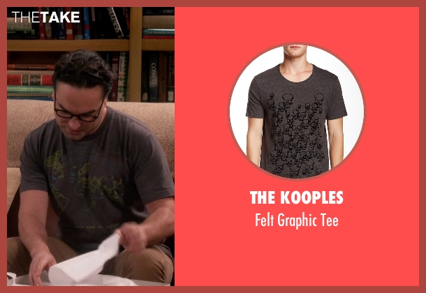 The Kooples gray tee from The Big Bang Theory seen with Leonard Hofstadter (Johnny Galecki)