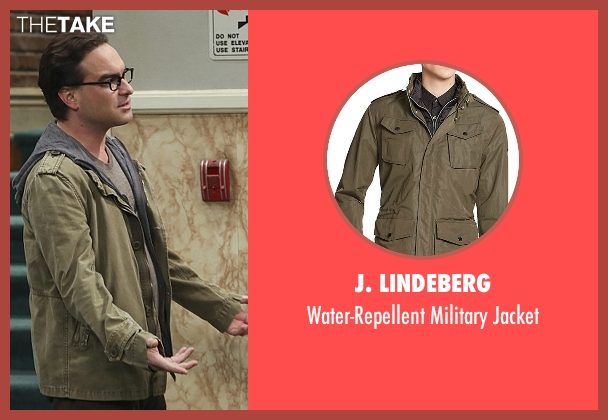 J. Lindeberg green jacket from The Big Bang Theory seen with Leonard Hofstadter (Johnny Galecki)