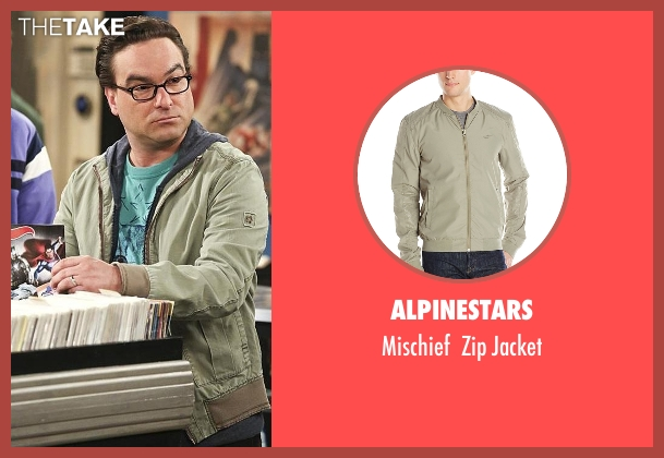 Alpinestars green jacket from The Big Bang Theory seen with Leonard Hofstadter (Johnny Galecki)