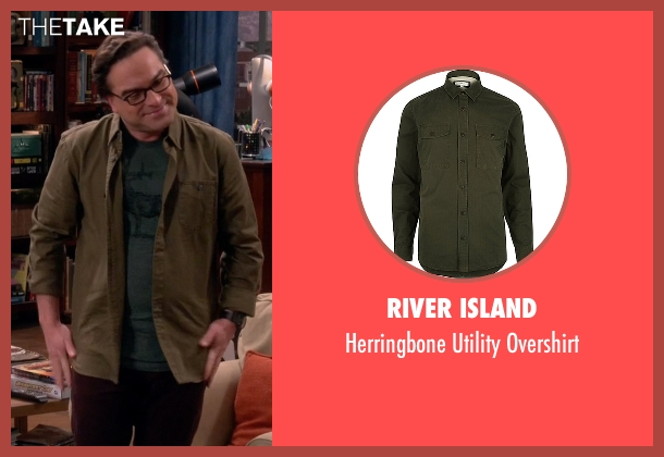 River Island green overshirt from The Big Bang Theory seen with Leonard Hofstadter (Johnny Galecki)