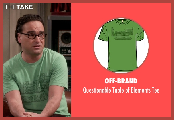 Off-Brand green tee from The Big Bang Theory seen with Leonard Hofstadter (Johnny Galecki)