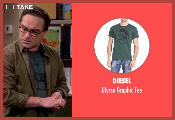 Diesel green tee from The Big Bang Theory seen with Leonard Hofstadter (Johnny Galecki)