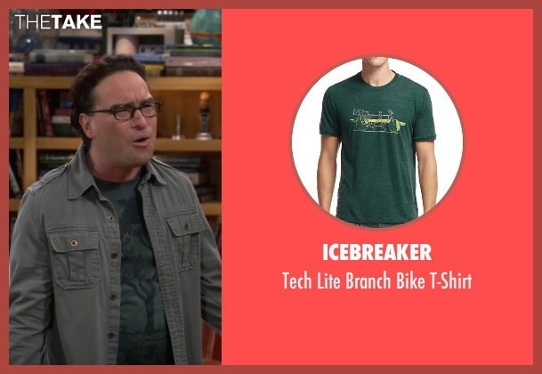 Icebreaker green t-shirt from The Big Bang Theory seen with Leonard Hofstadter (Johnny Galecki)