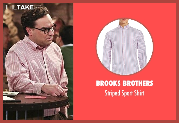 Brooks Brothers pink shirt from The Big Bang Theory seen with Leonard Hofstadter (Johnny Galecki)