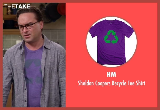 HM purple shirt from The Big Bang Theory seen with Leonard Hofstadter (Johnny Galecki)