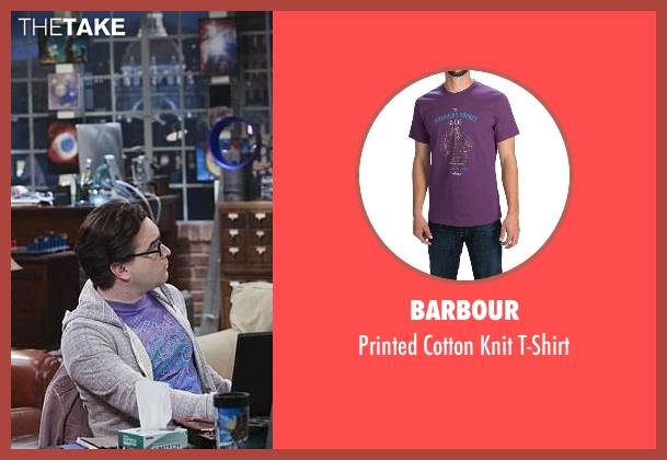 Barbour purple t-shirt from The Big Bang Theory seen with Leonard Hofstadter (Johnny Galecki)