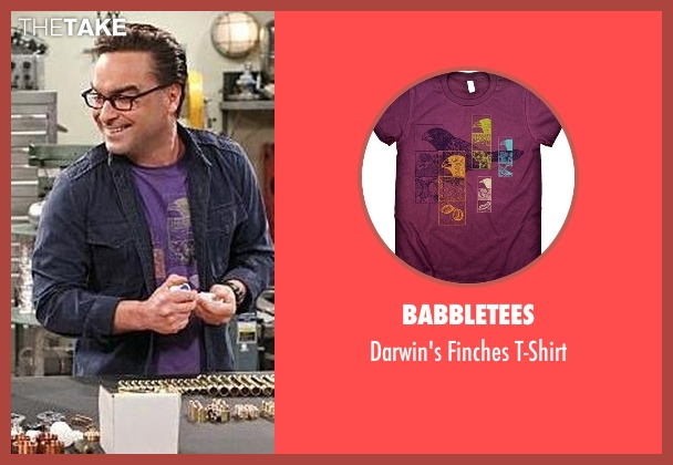Babbletees purple t-shirt from The Big Bang Theory seen with Leonard Hofstadter (Johnny Galecki)