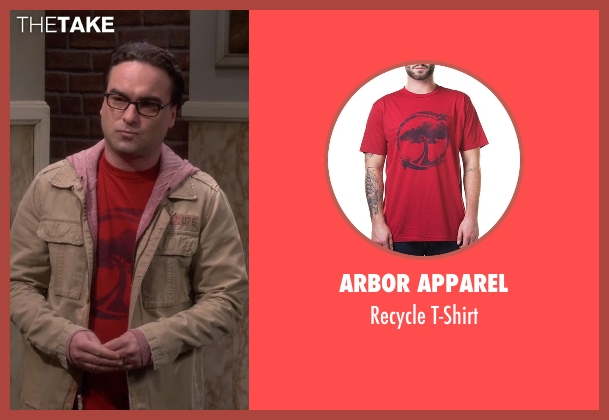 Arbor Apparel red t-shirt from The Big Bang Theory seen with Leonard Hofstadter (Johnny Galecki)
