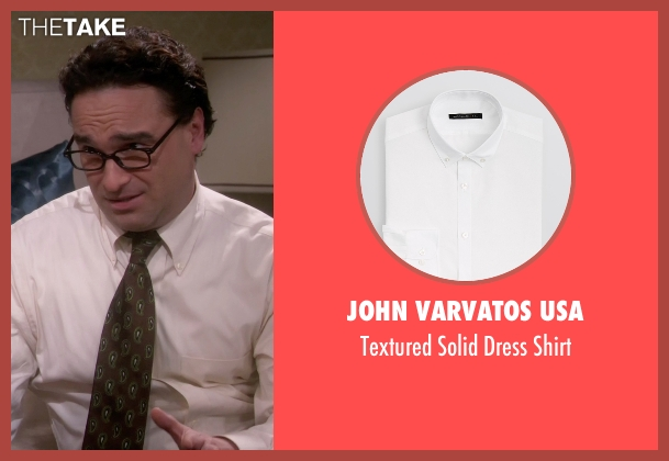 John Varvatos USA white shirt from The Big Bang Theory seen with Leonard Hofstadter (Johnny Galecki)
