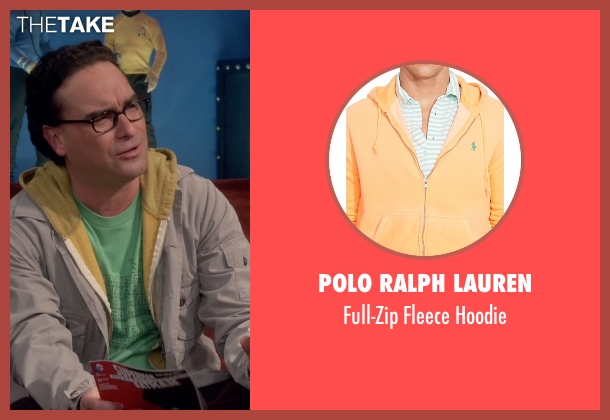 Polo Ralph Lauren yellow hoodie from The Big Bang Theory seen with Leonard Hofstadter (Johnny Galecki)