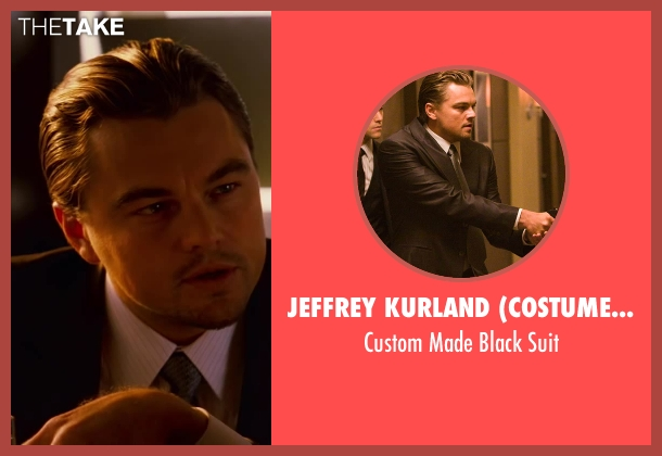 Jeffrey Kurland (Costume Designer) and Dennis Kim (Tailor) black suit from Inception seen with Leonardo DiCaprio (Cobb)