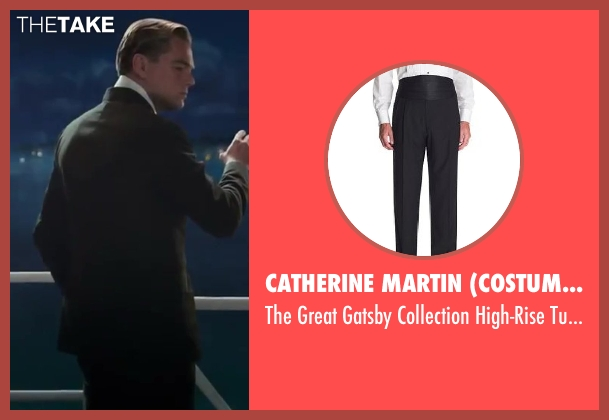 Catherine Martin (Costume Designer) and Brooks Brothers (Tailor) black trousers from The Great Gatsby seen with Leonardo DiCaprio (Jay Gatsby)