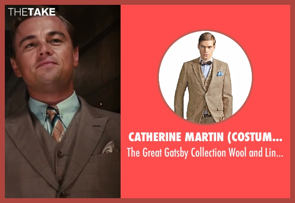 Catherine Martin (Costume Designer) and Brooks Brothers (Tailor) brown jacket from The Great Gatsby seen with Leonardo DiCaprio (Jay Gatsby)