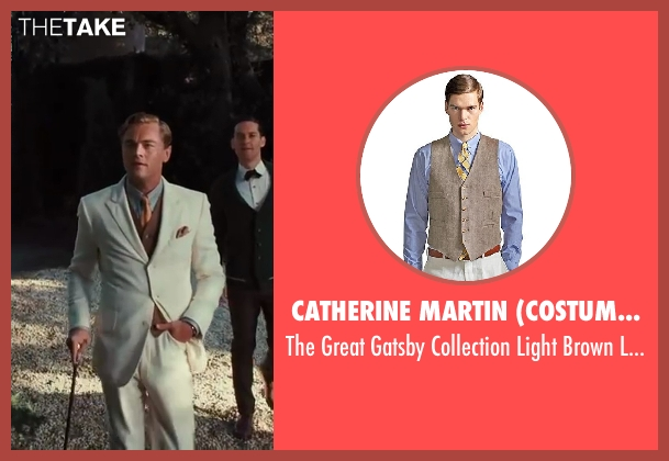 Catherine Martin (Costume Designer) and Brooks Brothers (Tailor) brown vest from The Great Gatsby seen with Leonardo DiCaprio (Jay Gatsby)