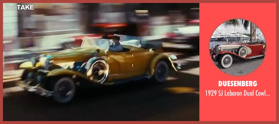Duesenberg car from The Great Gatsby seen with Leonardo DiCaprio (Jay Gatsby)