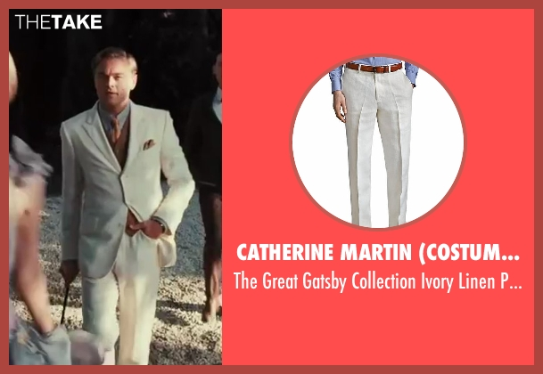 Catherine Martin (Costume Designer) and Brooks Brothers (Tailor) white pants from The Great Gatsby seen with Leonardo DiCaprio (Jay Gatsby)