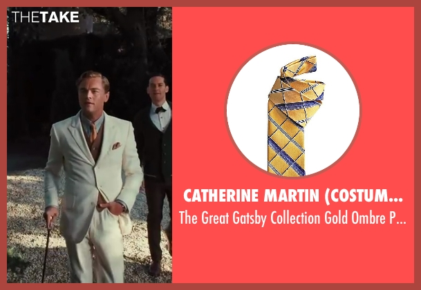 Catherine Martin (Costume Designer) and Brooks Brothers (Tailor) yellow tie from The Great Gatsby seen with Leonardo DiCaprio (Jay Gatsby)
