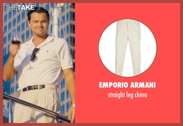 EMPORIO ARMANI beige chino from The Wolf of Wall Street seen with Leonardo DiCaprio (Jordan Belfort)