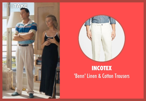 Incotex beige trousers from The Wolf of Wall Street seen with Leonardo DiCaprio (Jordan Belfort)
