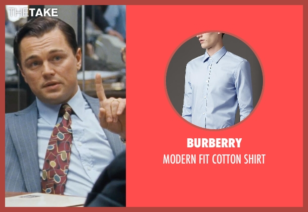 BURBERRY blue shirt from The Wolf of Wall Street seen with Leonardo DiCaprio (Jordan Belfort)
