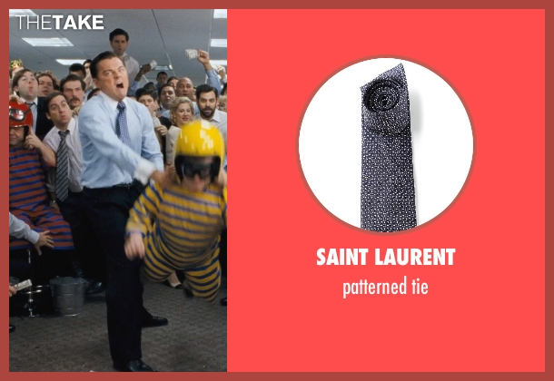 SAINT LAURENT blue tie from The Wolf of Wall Street seen with Leonardo DiCaprio (Jordan Belfort)