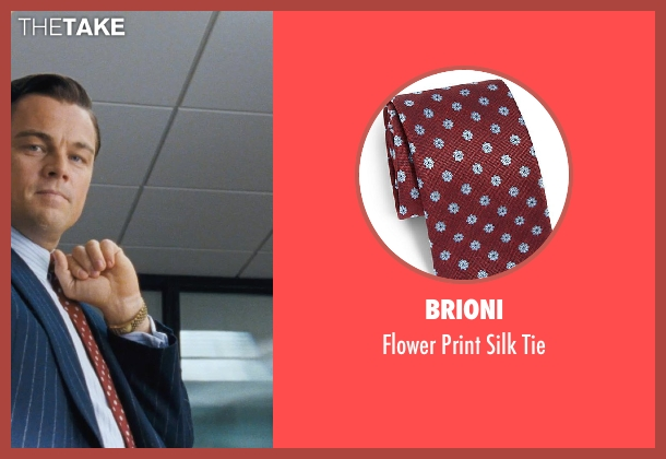 Brioni red tie from The Wolf of Wall Street seen with Leonardo DiCaprio (Jordan Belfort)