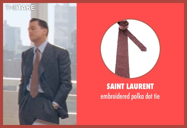 SAINT LAURENT red tie from The Wolf of Wall Street seen with Leonardo DiCaprio (Jordan Belfort)