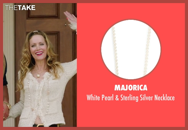 Majorica white necklace from Vacation seen with Leslie Mann (Audrey Griswold)