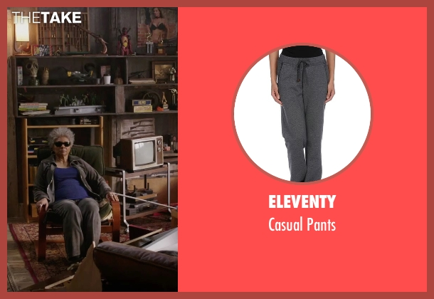 Eleventy gray pants from Deadpool seen with Leslie Uggams (Blind Al)
