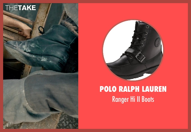 Polo Ralph Lauren black boots from Pan seen with Levi Miller (Peter Pan)