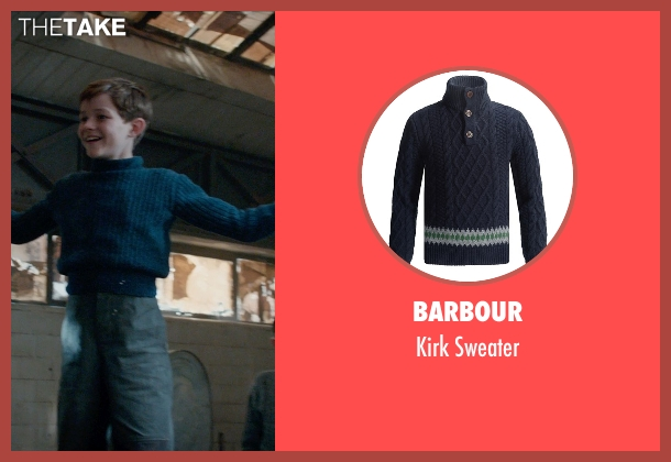 Barbour blue sweater from Pan seen with Levi Miller (Peter Pan)
