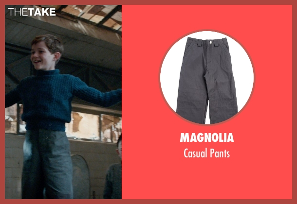 Magnolia gray pants from Pan seen with Levi Miller (Peter Pan)
